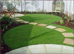 S curve lawn with sq paver path on perimeter crossing to other side