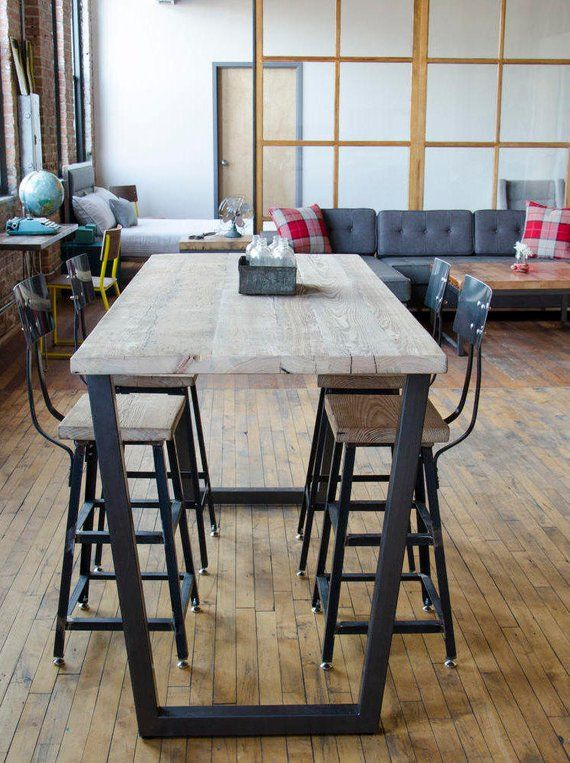 Bar Height Table Restaurant Pub With Steel Legs In Your Choice Of Color Size And Fi