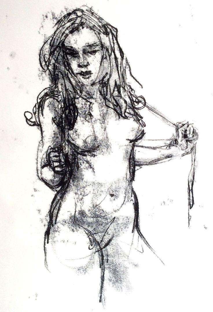 monotype - curvy girl by Judy Watson
