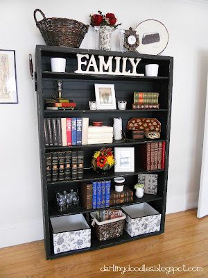 Styling bookshelves.