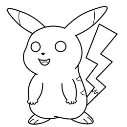 How to draw Pikachu from Pokemon black and white cartoon