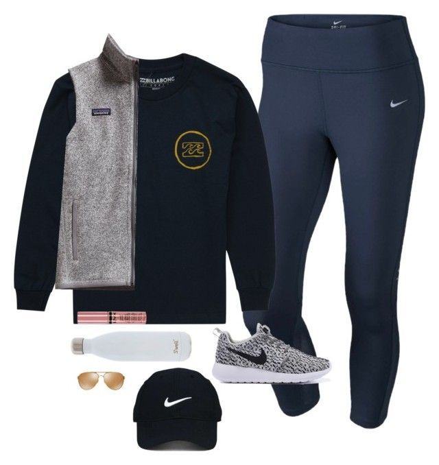 """""""My lipgloss be poppin'"""" by clorrette29 ❤ liked on Polyvore featuring NIKE, Billabong, Nike Golf, Patagonia, S'well, Oakley and NYX"""