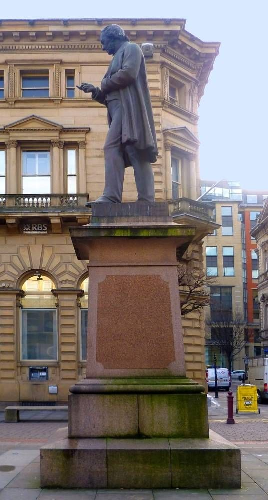 Richard Cobden. Marshall Wood. 1867. About ten foot or three metres high, bronze, with a polished granite pedestal (see Wyke 125). St Anne's Square, Manchester. Photographs, text and formatting by Jacqueline Banerjee. [You may use these images without prior permission for any scholarly or educational purpose as long as you (1) credit the photographer and (2) link your document to this URL in a web document or cite it in a print one.]
