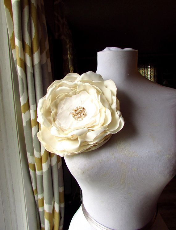 19568899af51e Extra Large Ivory Flower Big XL Oversized Brooch Pin Silk Fabric ...