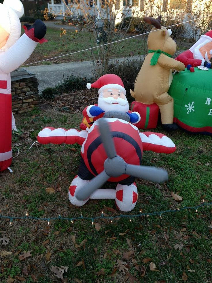 Christmas yard inflatable santa airplane