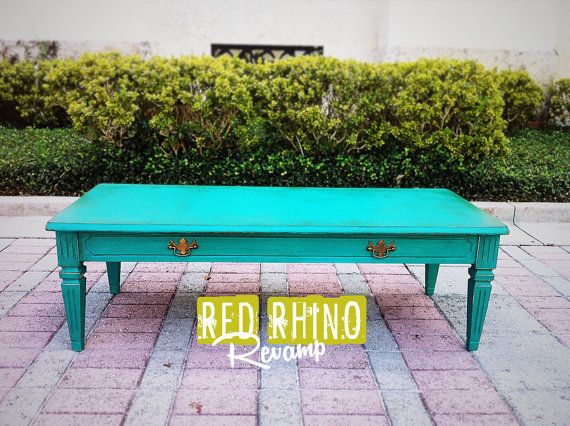 Aged Teal Coffee & Cocktail Table // SOLD by RedRhinoRevamp, $68.00