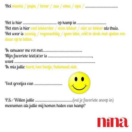Om af te drukken: NINAs briefpapier voor luie kinderen op zomerkamp