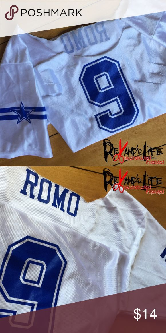 Cut up distressed Tony Romo Cowboy NFL jersey • KIDS SIZE TONY ROMO DALLAS COWBOYS NFL JERSEY DISTRESSED & CUT UP  •  * size large (Kids)  * was worn for a Halloween costume, one and only time  * neckline cut for cleavage  * somewhat thin material   ----- • sold as is • bundle to save • accepting all reasonable offers • -----   #dallas  #cowboys #cowgirls #tonyromo #americasteam #dallas #dez #nygiants #texas #nfl  #football #jersey #sexy Tops Tees - Short Sleeve
