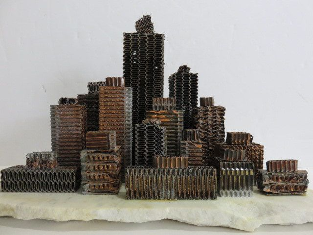 Brutalist Sculpture With Re-Claimed Radiator Parts, Creating A Unique Art Object. by FLORIDAMODERN on Etsy