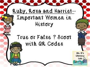 In this set are 20 QR task cards that test students' knowledge on Rosa Parks, Ruby Bridges, and Harriet Tubman. For these Important women in history, there is a list of suggested texts, hints on how to use the task cards, 20 task cards with QR cards, a student answer sheet and teacher answer key.