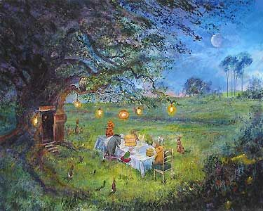 Winnie the Pooh - Pooh's 80th - Garden Party - Harrison Ellenshaw - World-Wide-Art.com - $950.00 #Disney #Ellenshaw