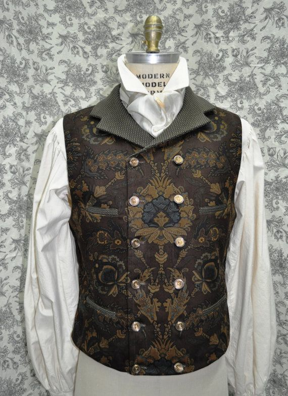 Men's 1800's Style Double Breasted Victorian/Steampunk Vest--Made to Order----available in chest sizes 30-48 inches