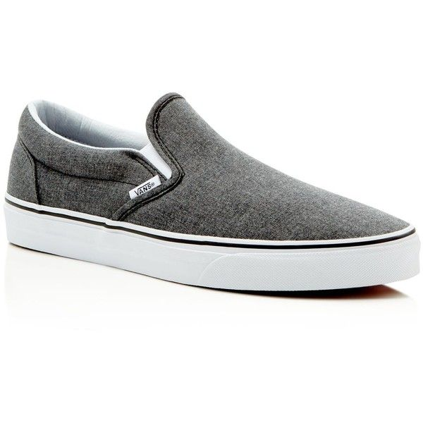 Vans Classic Slip On Sneakers ($55) ❤ liked on Polyvore featuring men's fashion, men's shoes, men's sneakers, mixed suiting grey, mens canvas shoes, mens gray dress shoes, mens canvas slip on shoes, mens slip on sneakers and mens slip on shoes