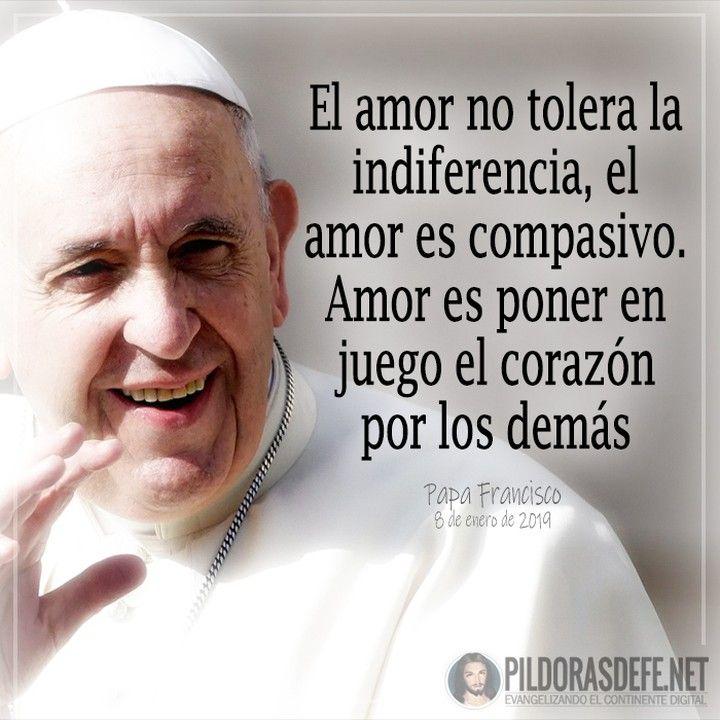 Papa Francisco El Amor No Tolera La Indiferencia El Amor Es Compasivo Amor Es Poner En Papa Francisco Reflexiones Del Papa Francisco Papa Francisco Frases