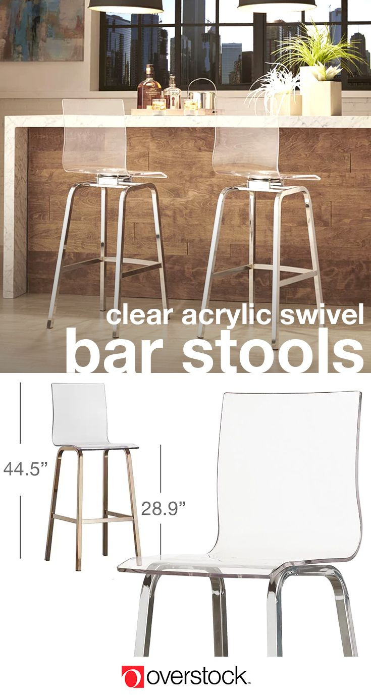 iNSPIRE Q Miles Clear Acrylic Swivel Bar Stools (Set of 2)
