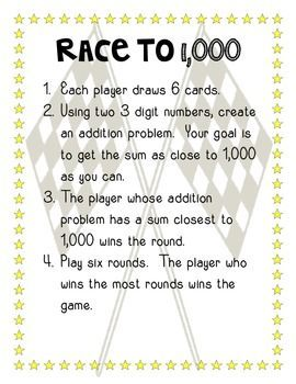 "This a product created to provide students with a fun way to practice three digit addition and subtraction. The ""Racing"" themed activity includes an addition game and a subtraction game. In the addition game, the students create their own problems and work to get the answer closest to 1000. #teachingkidsmath"