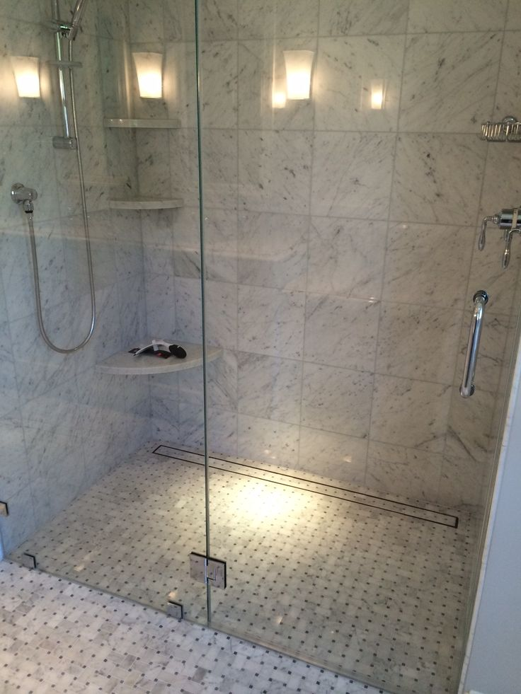 Walk In Shower With Linear Drain Bathroom Remodel