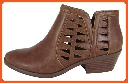 Soda FF50 Women's Perforated Cut Out Stacked Block Heel Ankle Booties (9 B(M) US, Cognac) - Boots for women (*Amazon Partner-Link)