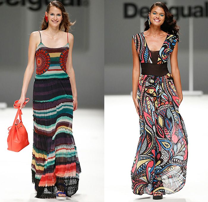 Desigual 2016 Spring Summer Womens Runway Catwalk Looks Learn - 080 Barcelona Fashion Catalonia Catalan Spain - Tropical Denim Jeans Patchwork Flowers Floral Leaves Foliage Mix Match Prints Ornamental Sheer Chiffon Mesh Lace Noodle Spaghetti Strap Knit Blouse Crop Top Midriff Culottes Gauchos Dress Skirt Frock Stripes Asymmetrical Handkerchief Curved Hem Fringes Pants Trousers Moto Biker Tunic Fruits Tiered Straw Hat