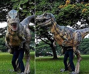 Baby T-Rex Costume  Stop dressing up in lame cliche costumes every Halloween – this year you can go as the scariest dinosaur ever with this life size baby T-Rex costume! Though your legs might be visible during day time, at night this incredibly realistic T-Rex costume will fool everyone!