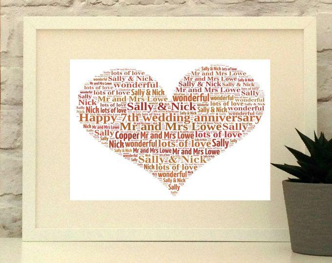 Copper Wedding Anniversary Personalised Heart Print