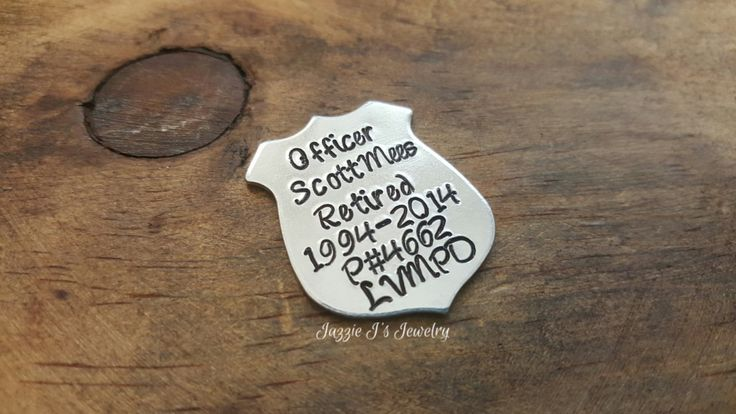 Customizable Gift Police Badge Token, Police Badge Wallet Insert, Personalized Officer Badge Charm, Retirement Gift for Police Officer by JazzieJsJewelry on Etsy