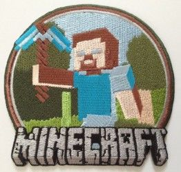 Minecraft Steve Embroidered Iron on Patch – Free Shipping!
