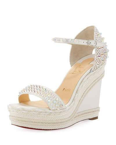 d82e46e200 X4E5K Christian Louboutin Madmonica Spike Red Sole Wedge Sandals ...
