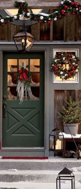 Outdoor Decorations and fabulous porch decor ...  Baby it's cold outside holiday Christmas party theme winter forest