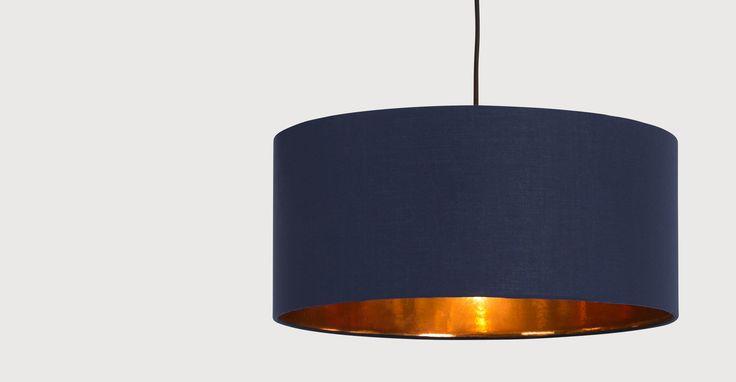 Hue hanglampenkap, donkerblauw & koper