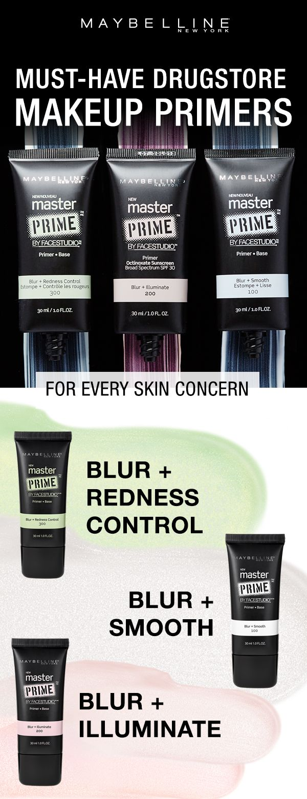 Maybelline has the makeup primer for your skin concern!  Redness and large pores? Go for the blur and redness control primer! Large pores and textured skin? Try the blur and smooth primer.  Dull skin that needs a little lift? Try the blur and illuminate primer.  These lightweight and non-oily formulas visually blur skin tone imperfections, as they smooth fine lines and help makeup stay put.  Click through to shop.