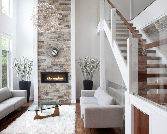 Beautiful living room, wonderful tones of natural wood, white and stone panel fireplace  #house #design #idea