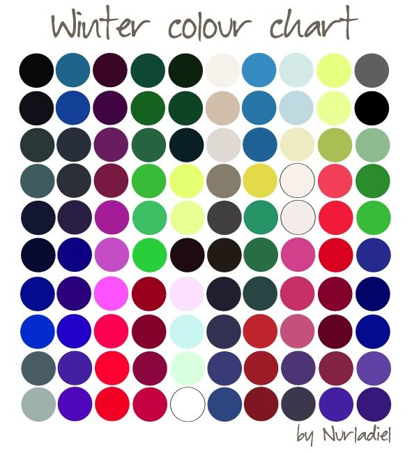 Winter color chart.   Season Color Analysis - As the seasons change throughout the year your personal season will remain unwavering further enhancing your natural beauty. When you are a winter colour type, all clothing in colors of this chart will look great on you.
