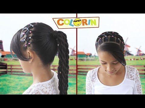 Peinado con ligas para niña | Peinado con trenzas y terminación en cola | Girl's Hairstyle - YouTube