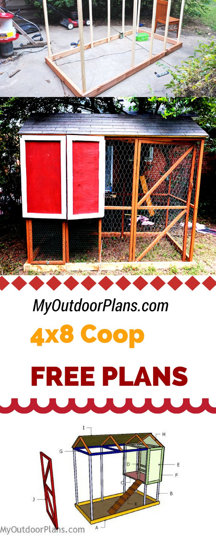 Learn how to build a 4x8 chicken coop in your own backyard! Use my free chicken coop plans and instructions to make a chicken coop with run in one weekend! myoutdoorplans.com #diy #chicken