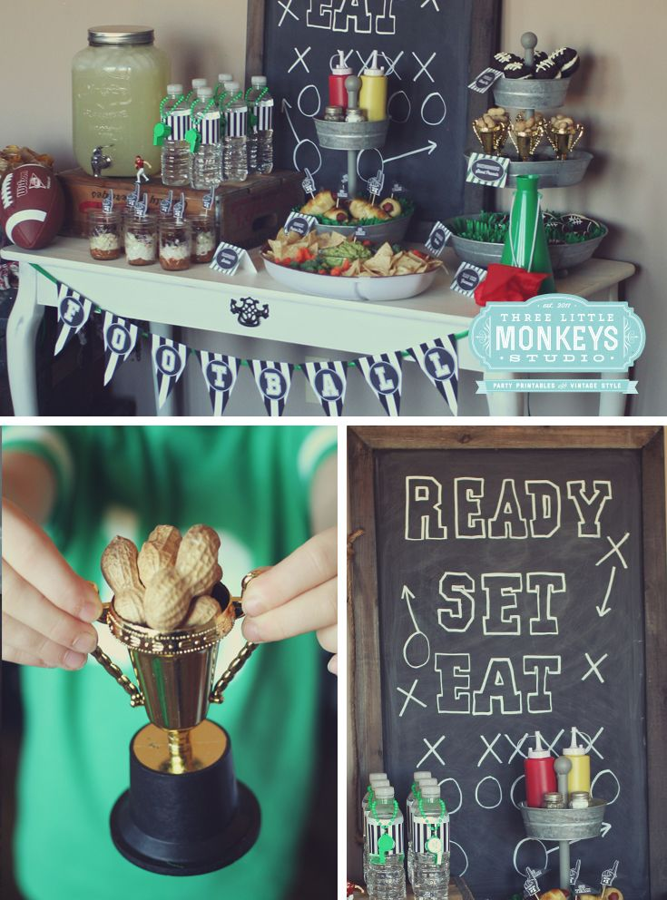 Kids Football Party Ideas by Gretchen from Three Little Monkeys Studio! I mean how cute are these ideas? Can I be super cheesy and say touchdown? Check it out at Designdazzle.com
