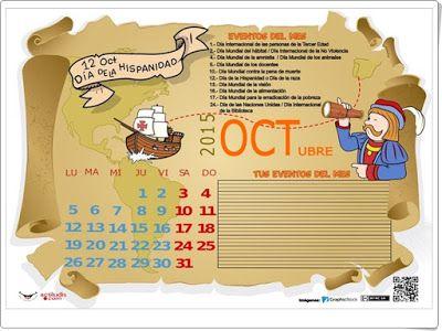 Para celebrar el Día del Descubrimiento de América (12 de octubre) actiludis.com ha elaborado este bonito calendario de octubre, en color y en blanco y negro (Para poder trabajar con él).