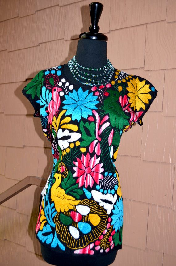 Vibrant Multicolor Mexican Hand Embroidered Blouse by Vtgantiques, $87.00