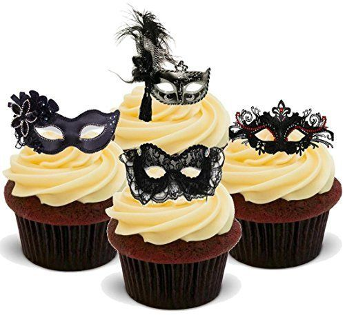 Masquerade Ball Masks Black Mix - Fun Novelty Birthday PREMIUM STAND UP Edible Wafer Card Cake Toppers Decoration, http://www.amazon.co.uk/dp/B0189EJGLC/ref=cm_sw_r_pi_awdl_x_P9DdybA1VHFAJ