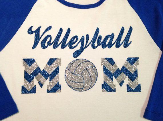 Custom Glitter & Chevron Volleyball Mom by GirlieGirlCouture, $22.00