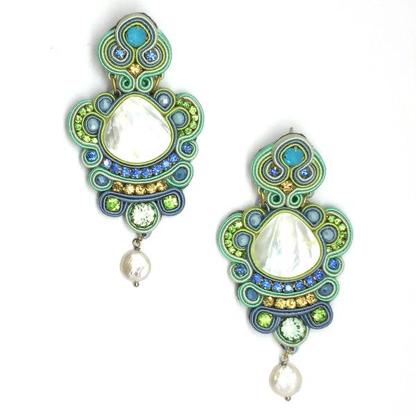 DESCRIPTION Dopdomani. Beautiful mint and blue tones earrings that feature mother of pearl details. SIZE & MATERIALS MATERIALS: Silk, mother of pearl, semi-precious stones. CLOSURE: Post back. LENGTH: