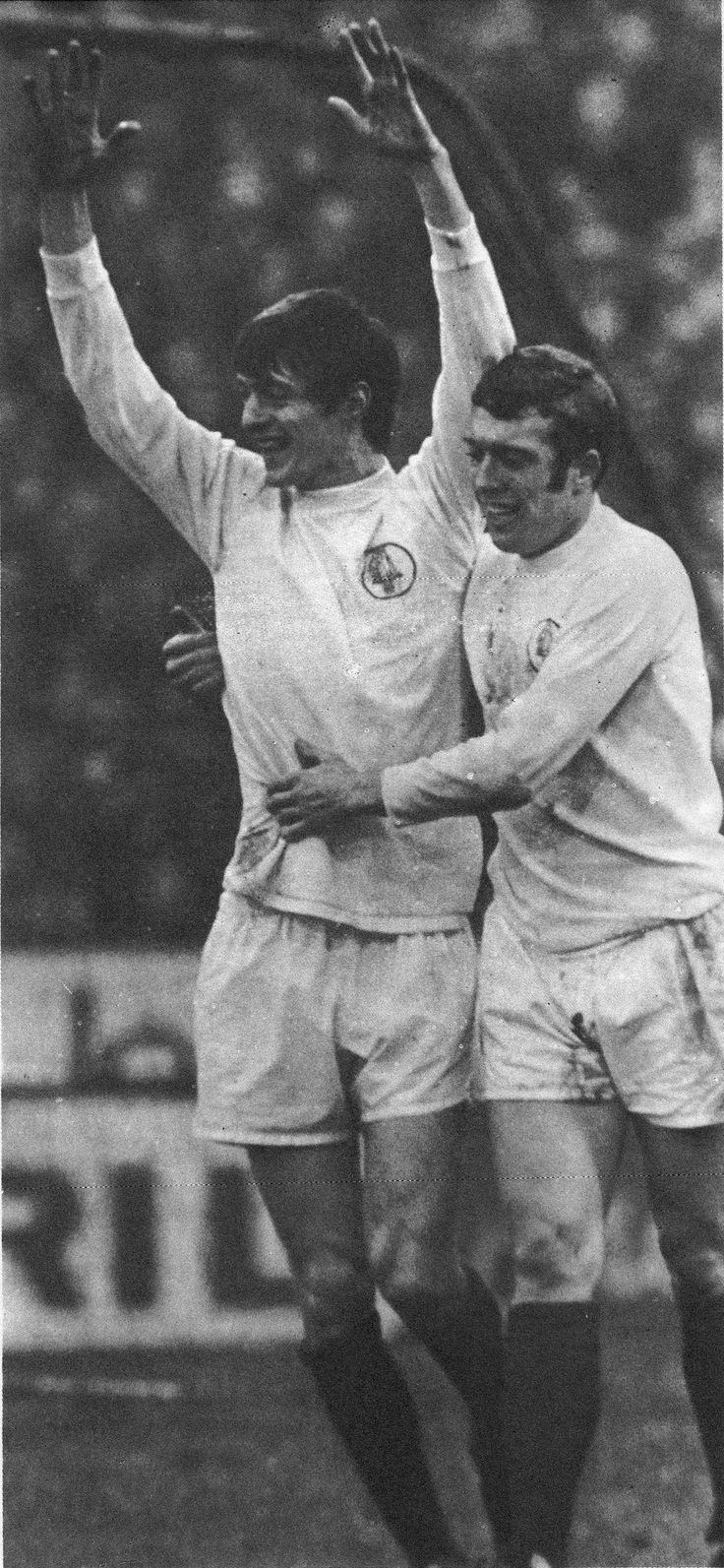 10th January 1970. Allan Clarke and strike partner Mick Jones celebrate Clarke's goal against Chelsea, at Stamford Bridge.