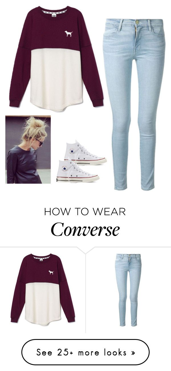 """""""Untitled #83"""" by jacqueline66 on Polyvore featuring moda, Frame Denim, Victoria's Secret PINK y Converse"""