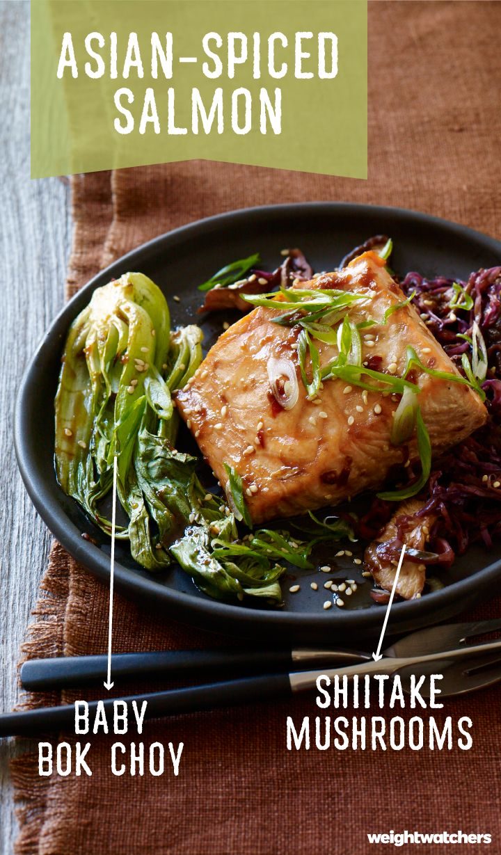 to-table Asian-Spiced Salmon with Baby Bok Choy and Shiitake Mushrooms ...