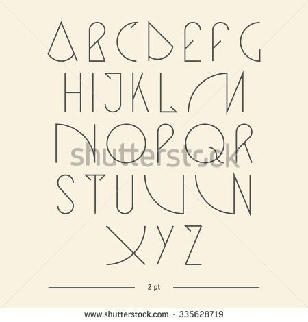 Vector linear font - simple alphabet in mono line style - typography design elements.Thin line iconographic flat letters. Hipster modern font. uppercase serif font. Web design elements.