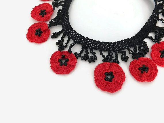 Crochet Necklace Crochet Red Poppy Necklace Red Flower Necklace Crochet Jewelry Statement Necklace Beaded Necklace Gift For Her