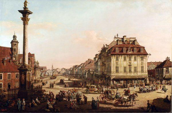 Bernardo Bellotto, Veduta di via Krakowskie Przedmieoecie dalla colonna di Sigismondo III, 1767 olio su tela Varsavia, Castello reale, foto Andrzej Ring & Bartosz Tropilo