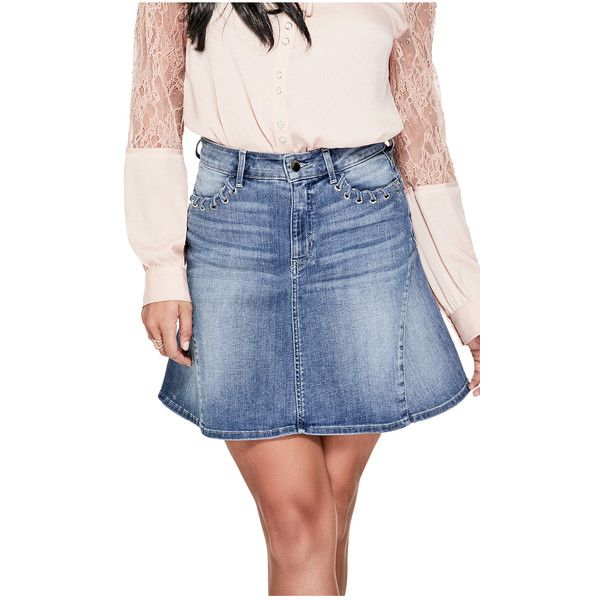 GUESS High-Rise Flared Denim Skirt ($79) ❤ liked on Polyvore featuring skirts, mini skirts, flared denim skirt, high waisted denim skirt, high waist skirt, flared mini skirt and denim mini skirt
