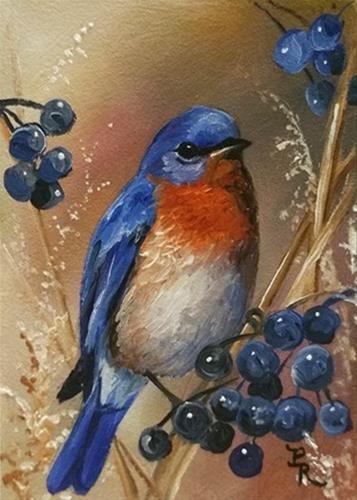 "Daily Paintworks - ""Berry Blue"" - Original Fine Art for Sale - © Paulie Rollins"