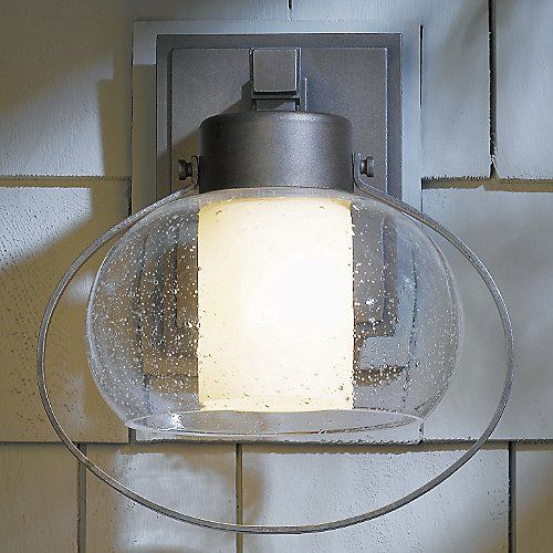 Port Outdoor Wall Sconce with Seeded Glass by Hubbardton Forge \